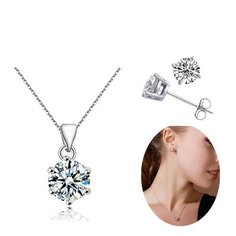 Silver Plated Zircon Gem Jewelry Set - Order Today!