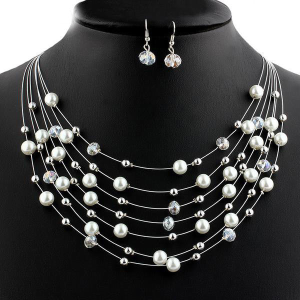 Handmade Pearl Austrian Crystal Beads Jewelry Set - Order Today!