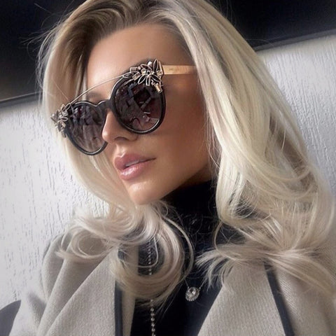 Luxurious Cat Eye Sunglasses for Women with Diamond Decoration - Order Today!
