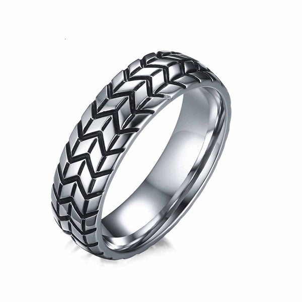 Tire Tread Style Grooved Ring for Men - Order Today!