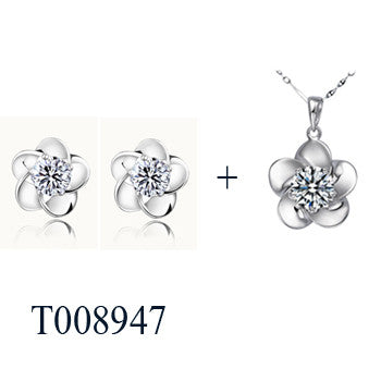Silver Plated Jewelry Set with Zircon Pendant and Earrings - Order Today!