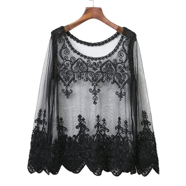 Hollow Out Mesh Lace Long Sleeve Top - Order Today!