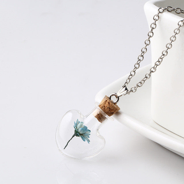 Lovely Heart Shape Glass Wish Bottle Necklace - Order Today!