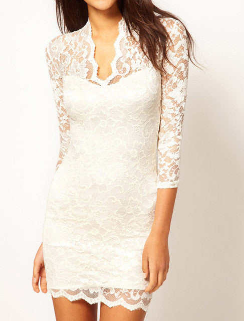 Stylish Mini 3/4 Sleeve Lace Dress - Order Today!