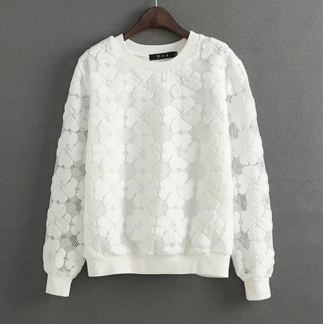 Lace Hollow Out Sweatshirt - Order Today!