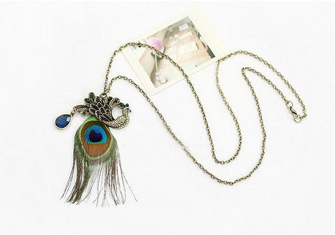 Peacock Feathers Long Necklace - Order Today!