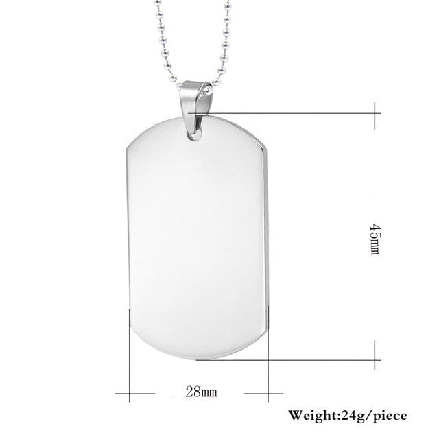 Simple Stainless Steel Dog Tag Necklace & Pendant - Order Today!