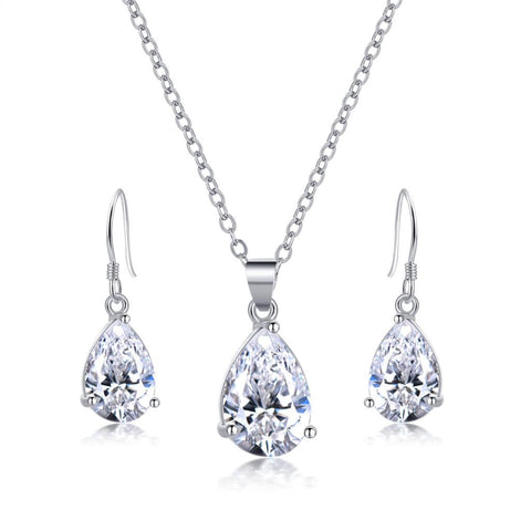 Silver Jewelry Set with Cubic Zircon Pendant and Earrings - Order Today!