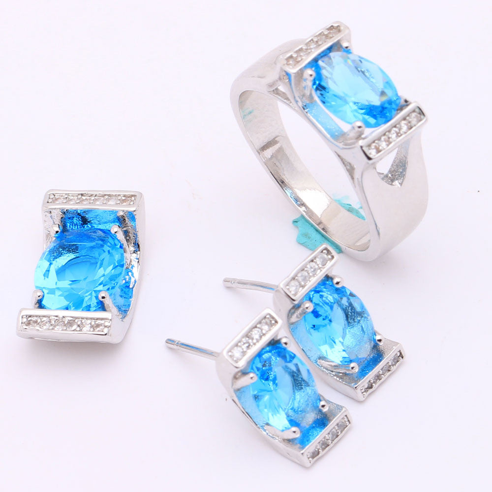 Luxurious Silver Plated Blue Jewelry Set - Order Today!