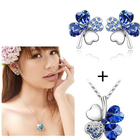 Silver Plated Austrian Crystal Clover Jewelry Set - Order Today!