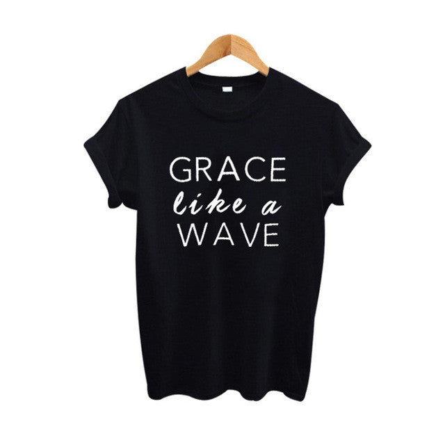 Grace Like a Wave Graphic Tees for Women - Order Today!