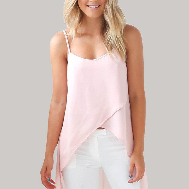 Sexy Casual Sling Strap Chiffon Top - Order Today!
