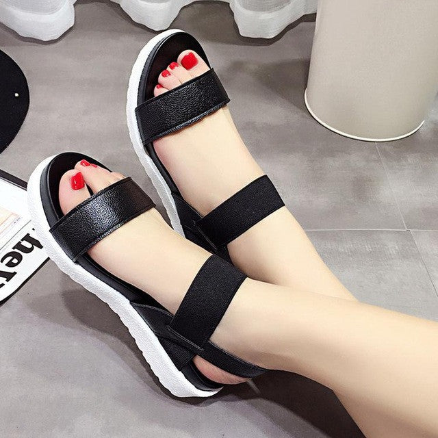 Peep Toe Flat Sandals - Order Today!