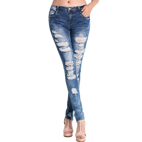 Hole Stretch Cotton Ripped Jeans - Order Today!