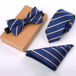 Blue Striped Bow Tie, Necktie and Handkerchief Set