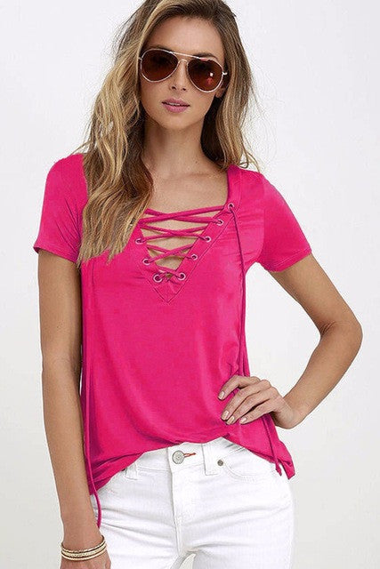 Sexy Lace Up V-Neck T-Shirt - Order Today!