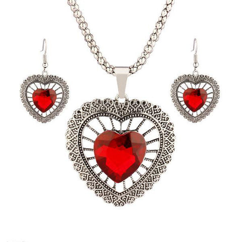 Trendy Heart Crystal Silver Plated Jewelry Set - Order Today!