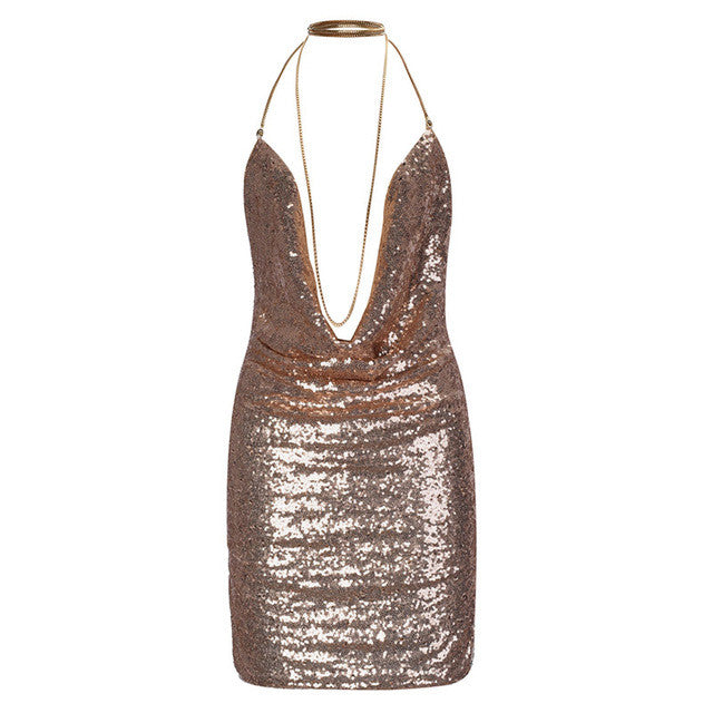 Deep V Sequin Sexy Back Dress - Order Today!