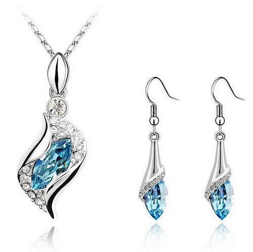 Classic Silver Plated Jewelry Set with Crystals - Order Today!