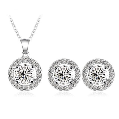 Romantic Silver Plated Round Crystal Jewelry Set - Order Today!