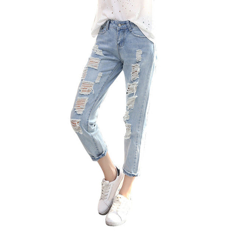 Ripped Straight Cropped Jeans - Order Today!