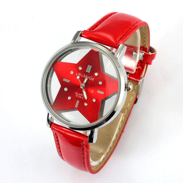 Cute Five-Pointed Star Leather Quartz Wrist Watch - Order Today!