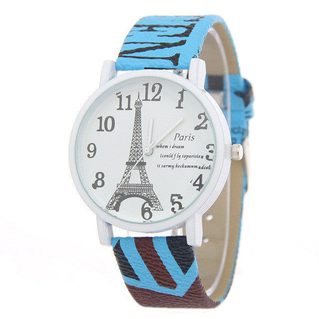 Classic Paris Tower Design Leather Wrist Watch - Order Today!