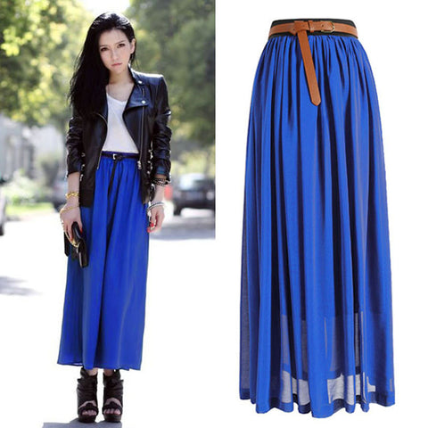Stylish Two Layered Chiffon Pleated Skirt - Order Today!