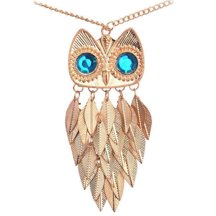 Vintage Leaves Owl Necklace Pendant - Order Today!