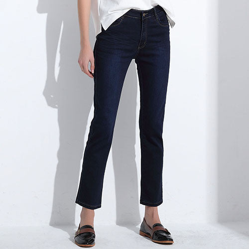 Slim Straight High Waist Cotton Denim Jeans - Order Today!