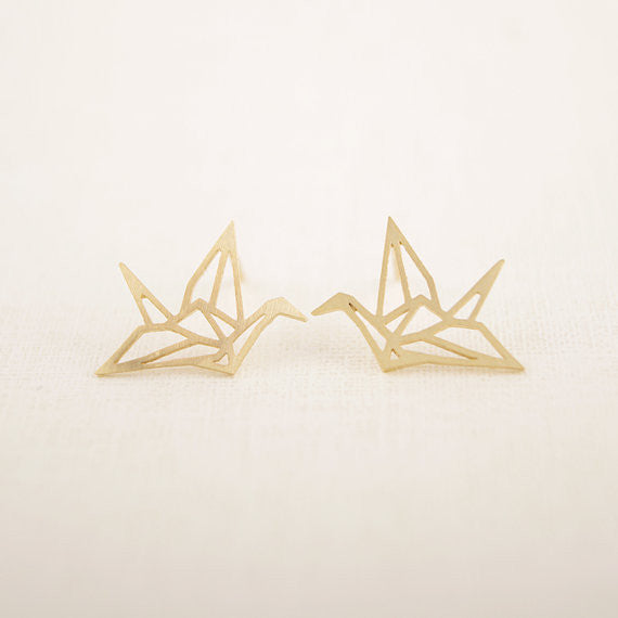 Lovely Origami Crane Stud Earrings - Order Today!