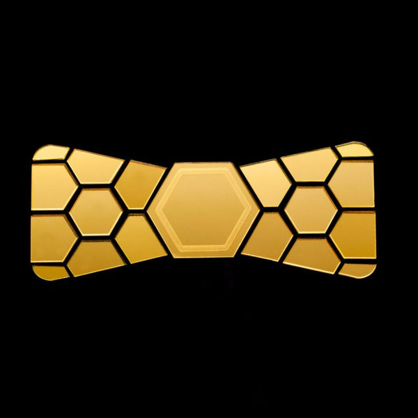 Handmade Gold Mirror Chrome Bow Tie