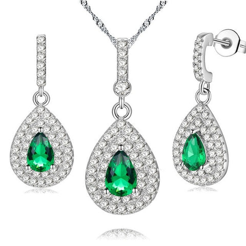 Silver Plated Green Crystal Jewelry Set - Order Today!