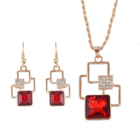 Geometric Rose Gold Jewelry Set with Rhinestone - Order Today!