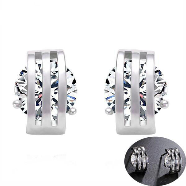 New Unique Inlaid Cubic Zirconia Stud Earrings - Order Today!