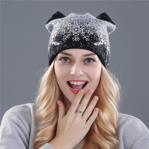 Rabbit Fur Wool Knitted Beanies - Order Today!