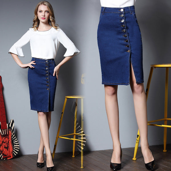 Knee-length Pencil Denim Skirt