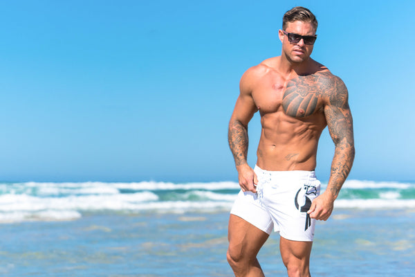 mens white beach shorts