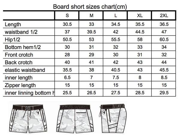 Size chart for mens board shorts
