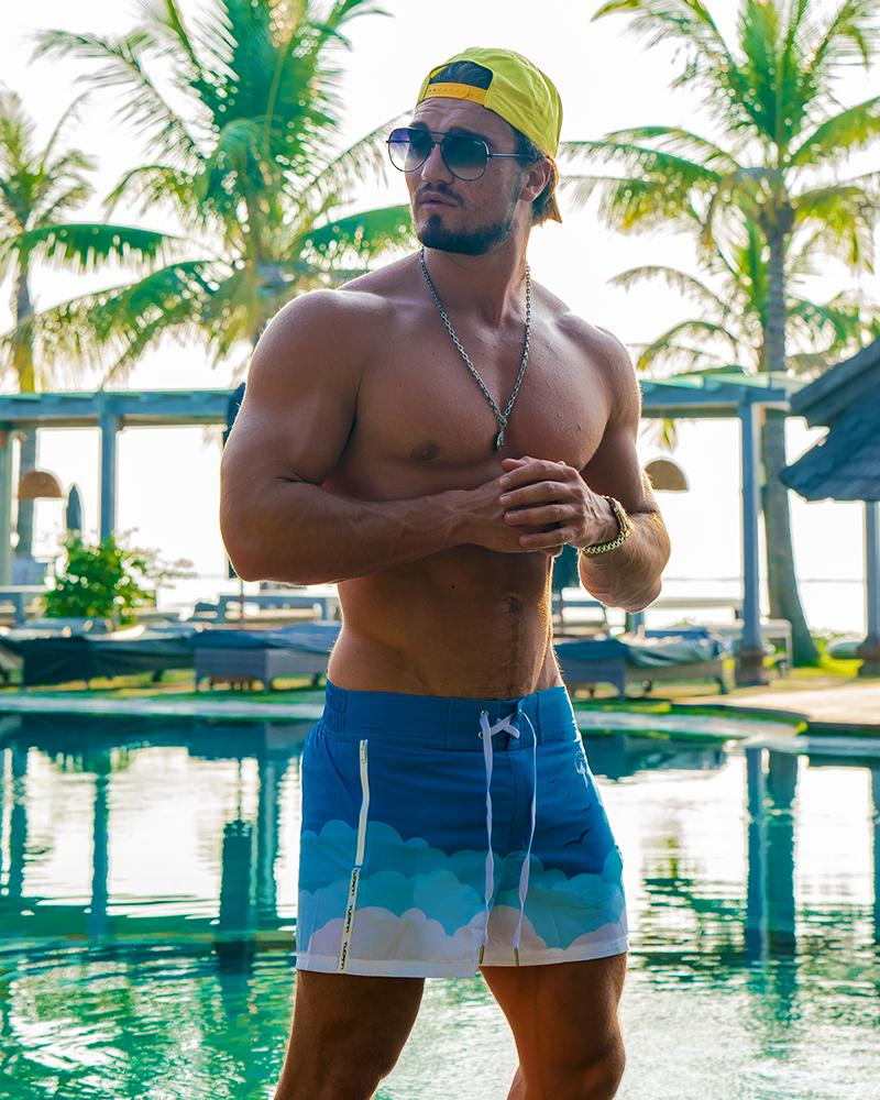 Blue Skies White Swim Shorts Shorts / Board shorts Tucann