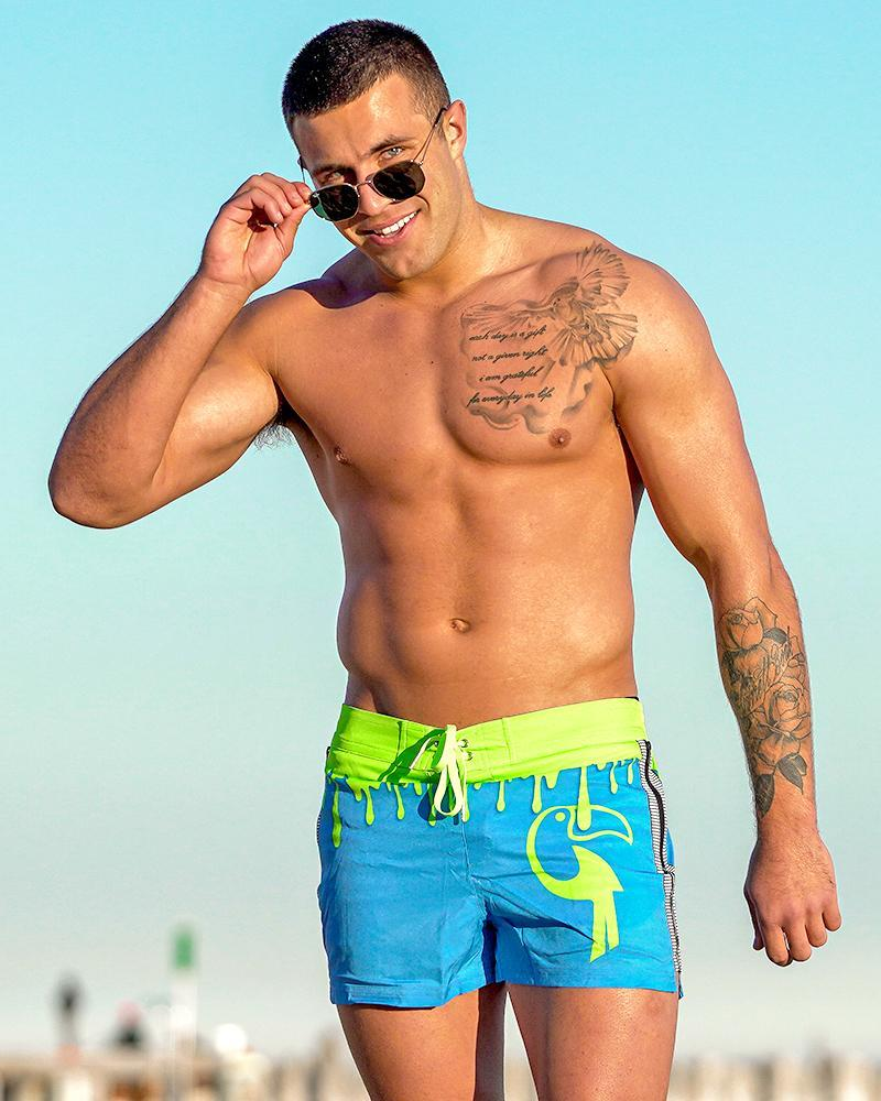 Drip Series Swim Shorts - Green Drip Shorts / Board shorts Tucann