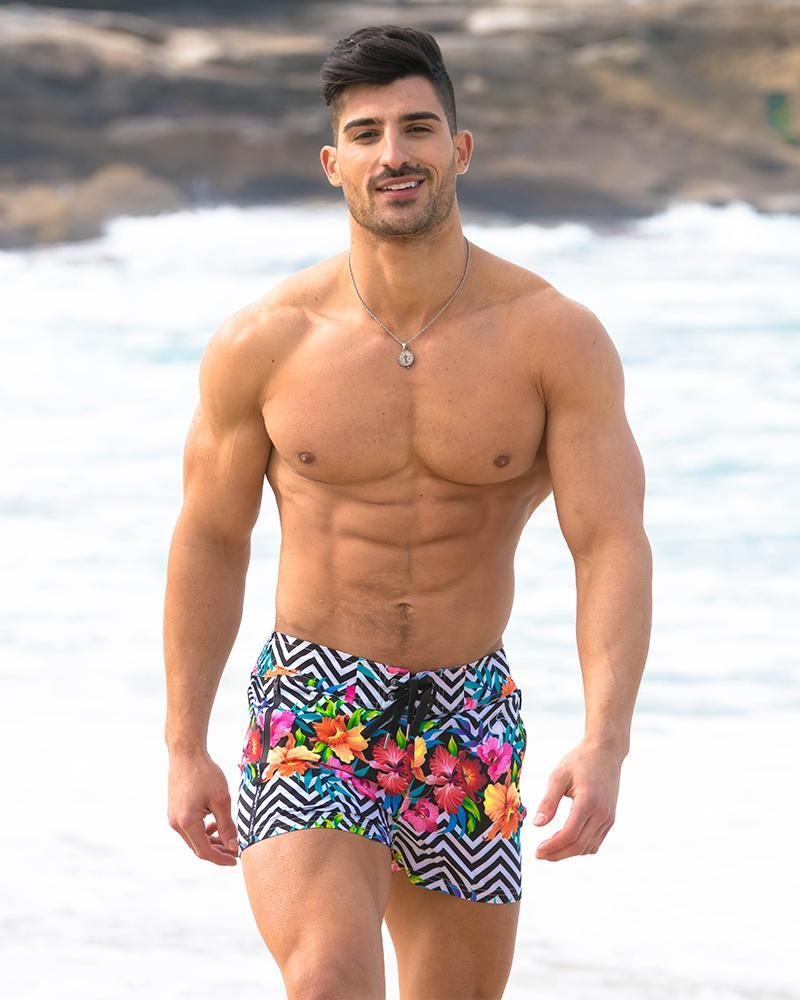 Flower Halo White Swim Shorts Shorts / Board shorts Tucann