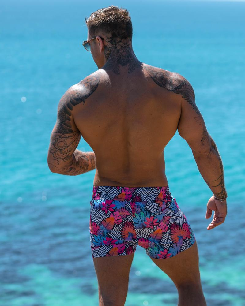 Flower Squared Black Swim Shorts Shorts / Board shorts Tucann S