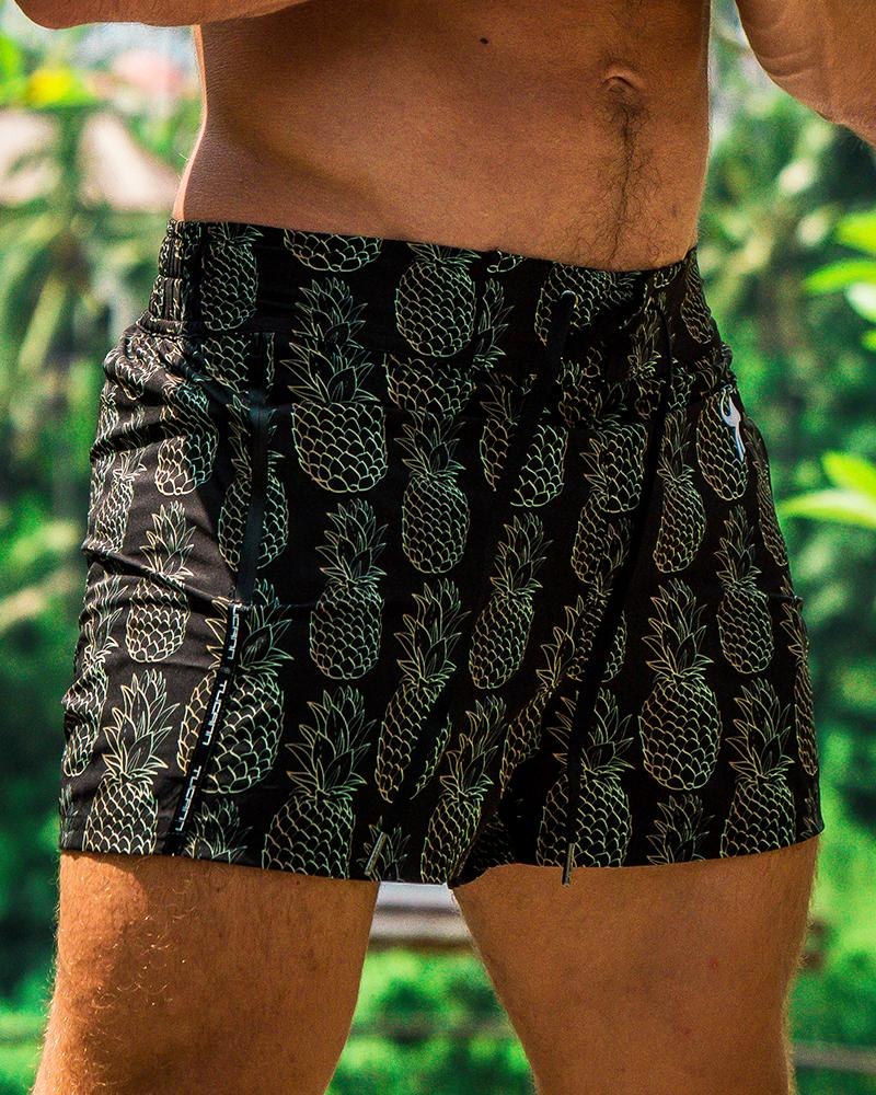 Golden Pineapple Black Swim Shorts Shorts / Board shorts Tucann