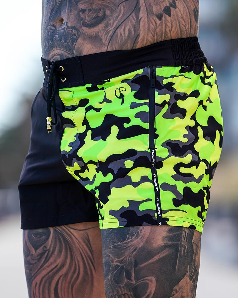 Split Camo Hyper Yellow Swim Shorts Shorts / Board shorts Tucann
