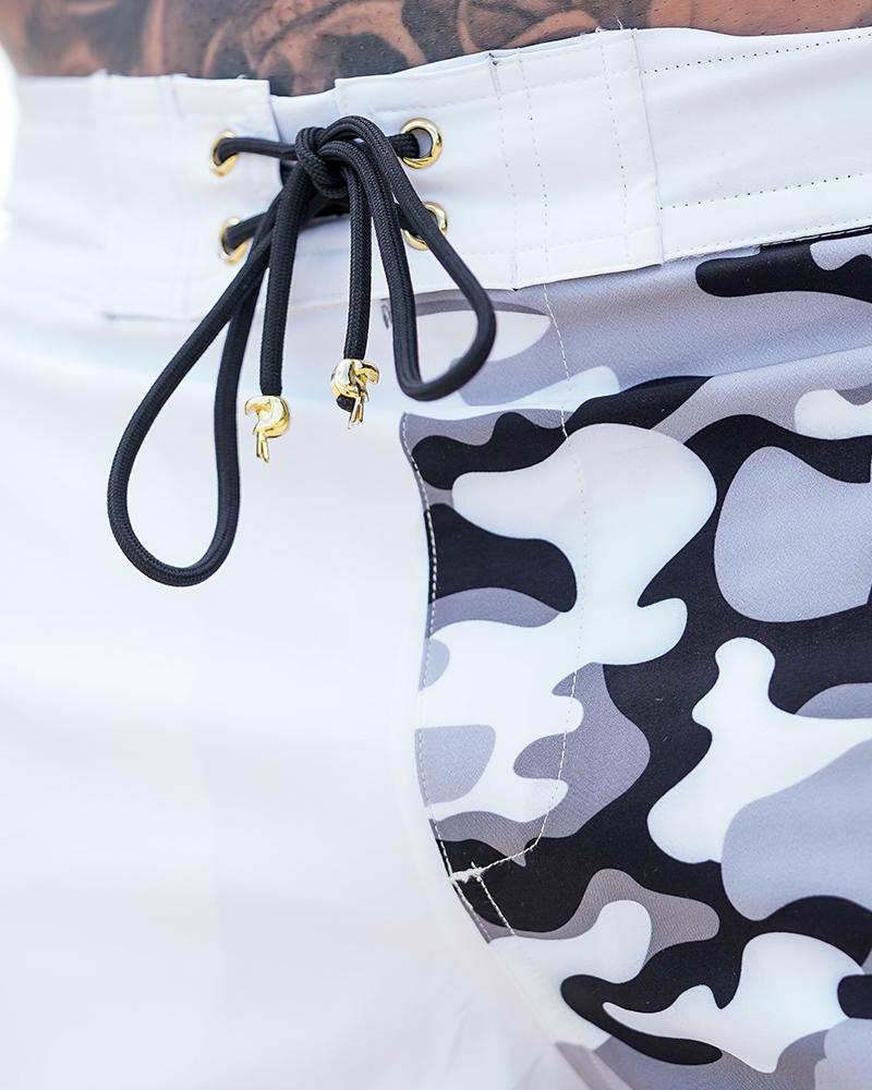 Split Camo White Swim Shorts Shorts / Board shorts Tucann