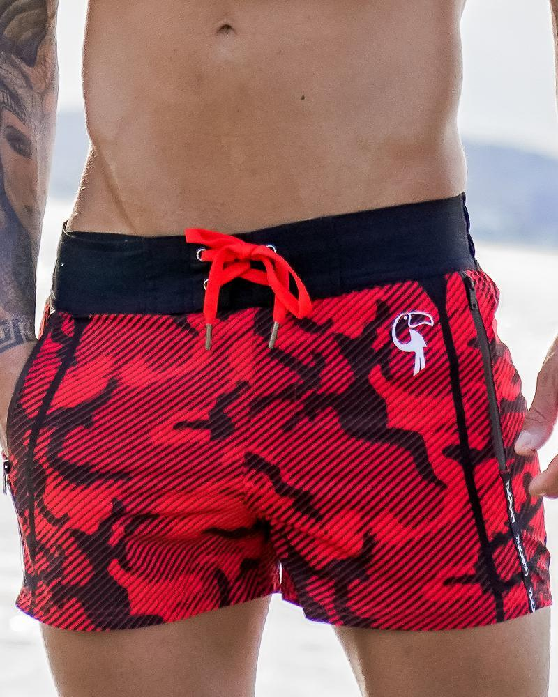 Striped Camo Red Swim Shorts Shorts / Board shorts Tucann S