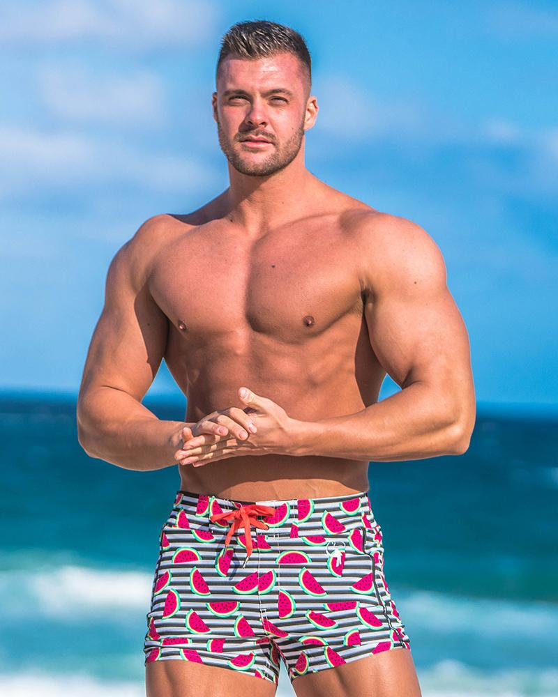Watermelon Striped Black Swim Shorts Shorts / Board shorts Tucann