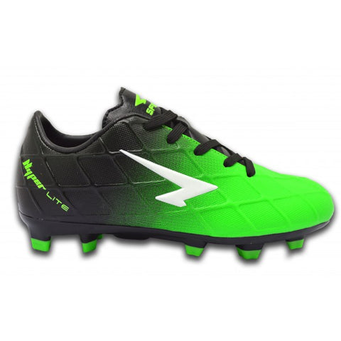 SFIDA Ignite Black/Green Junior Football Boots | blitzsports.com.au