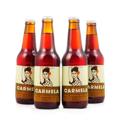 4 PACK - Cerveza artesanal beer happy CHELARTE CARMELA - BROWN ALE  330 ML - 5º